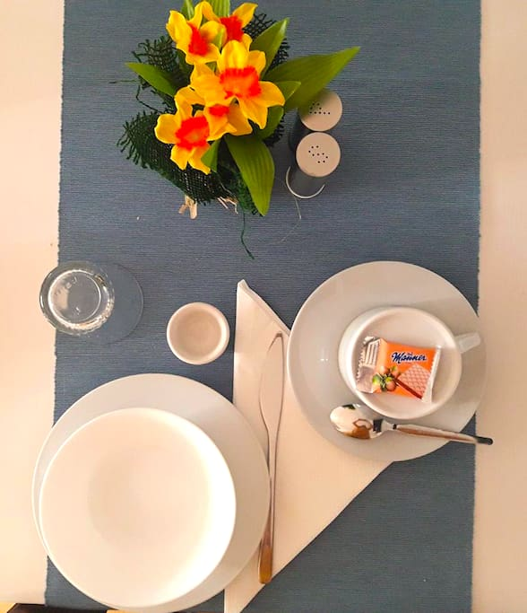 Breakfast with flowers & sweets