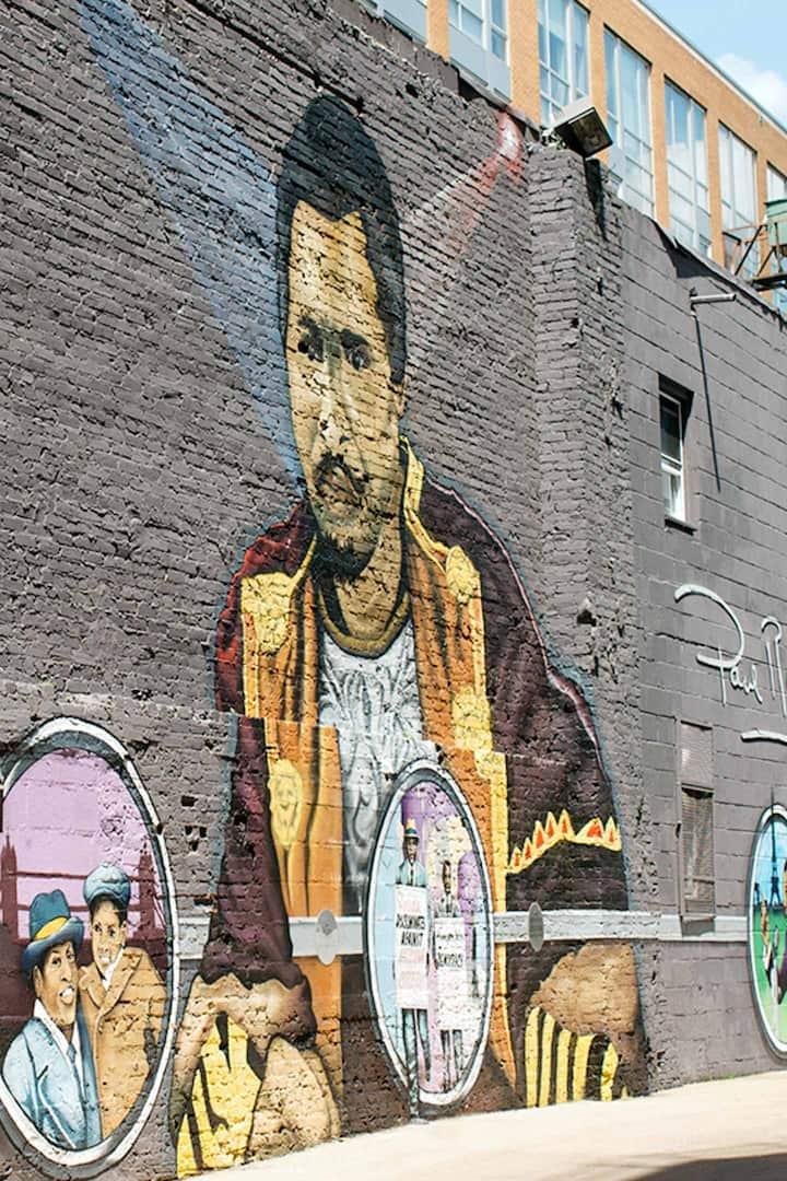 Explore street art in the neighborhood