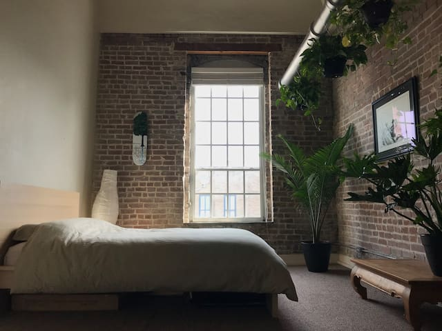 Private Bedroom in a Historic Third Floor Loft