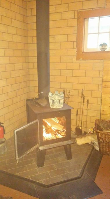 a cozy wood stove