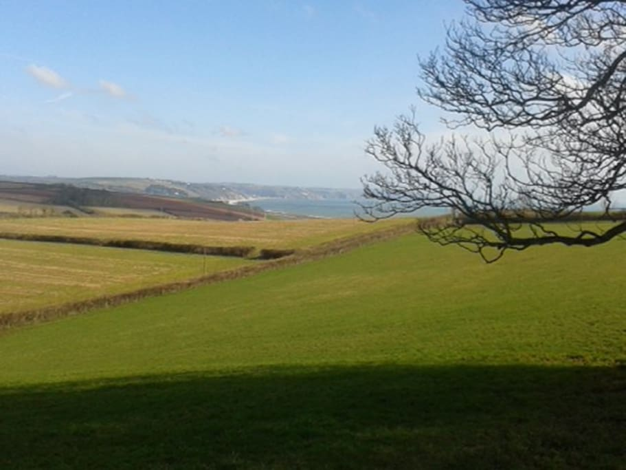 The view from the top of the hill across Start Bay and Slapton Sands to Dartmouth