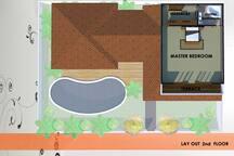Floor plan of the villa, second floor