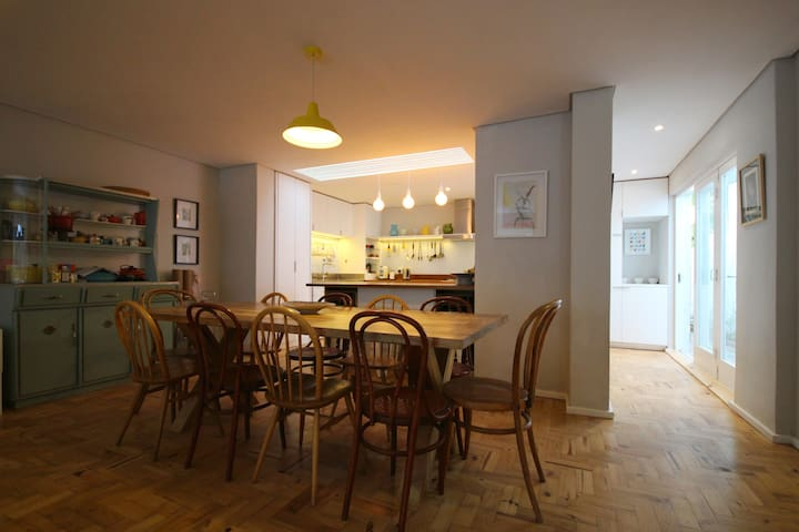 10 seater dining room table in open plan Living Dining space.