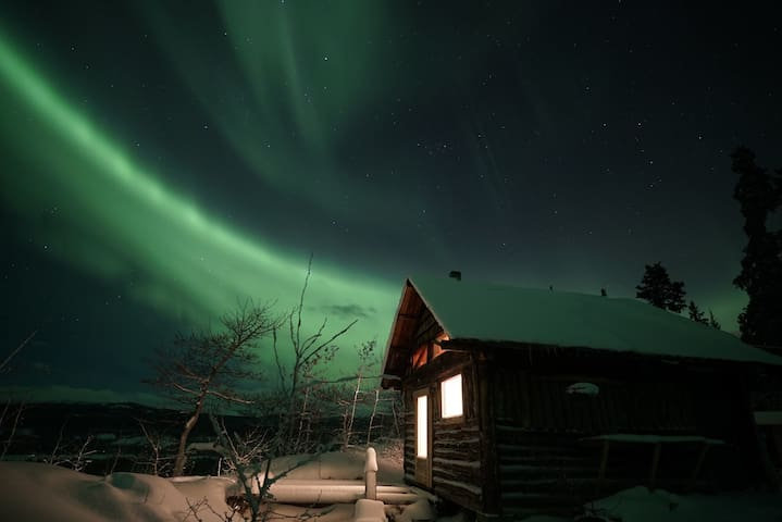 Northern Lights in the sky above the Lake View Cabin.