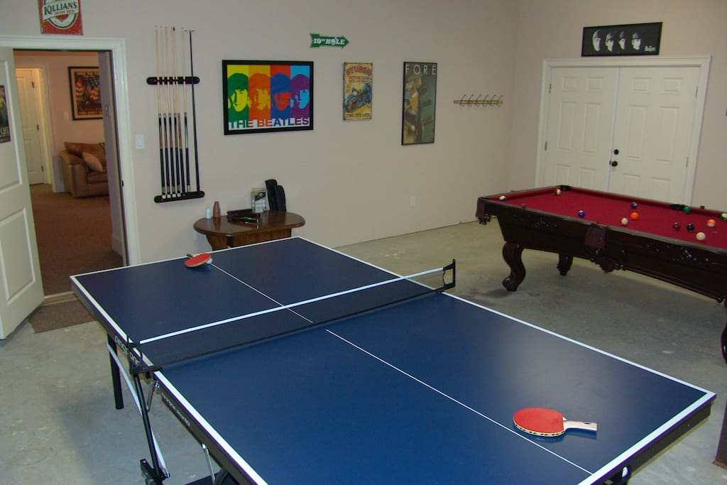 Game room with pool table, ping pong, darts