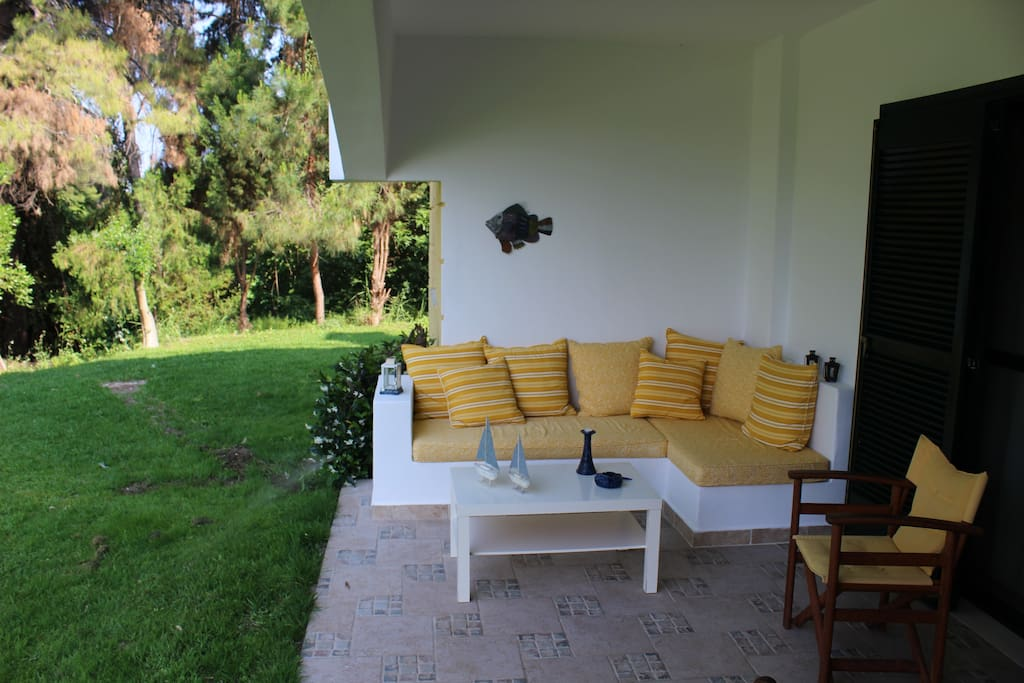 terrace with built sofa