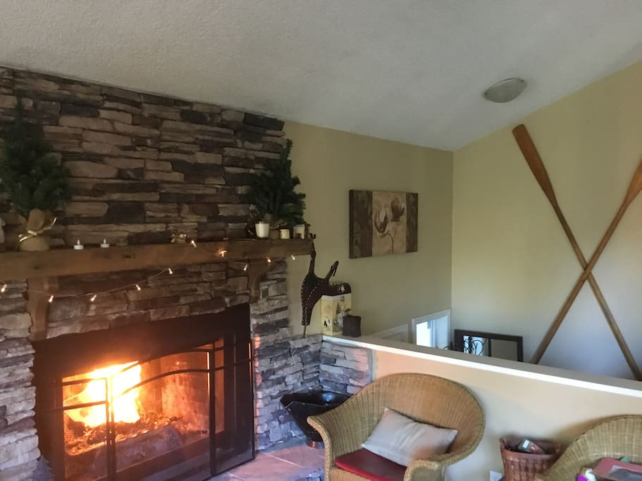 Vaulted ceilings, wood burning fireplace
