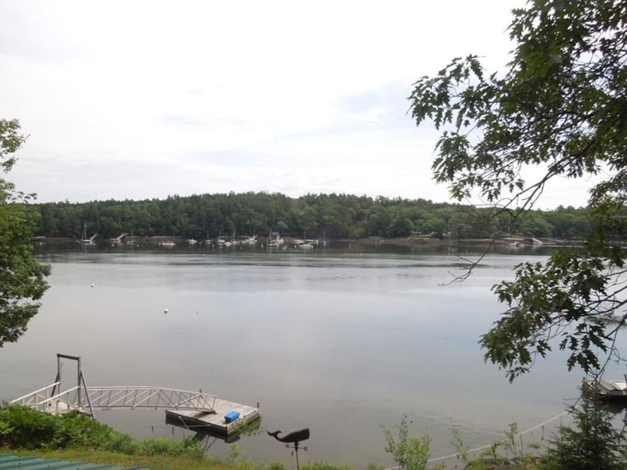 Deep-water dock with float on Little Sheepscot River.  Its all waiting for you to come and enjoy your Maine vacation