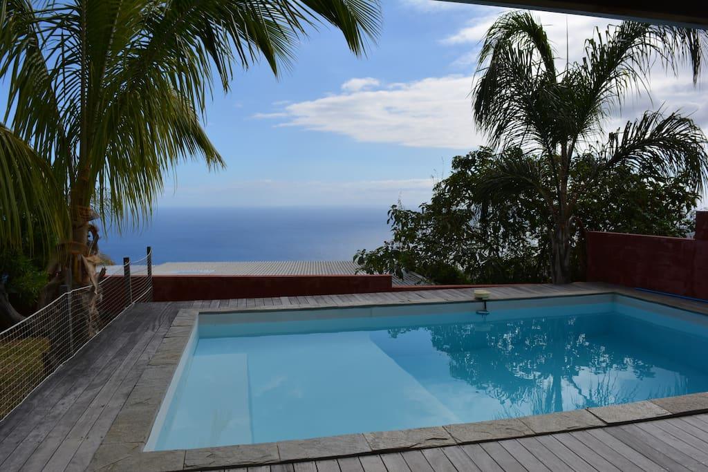 La vue sur l'Océan Indien de la piscine