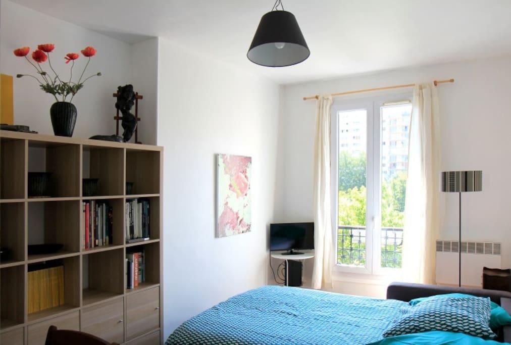 Living room double bed sofa opened - Salon avec le canapé lit deux places ouvert