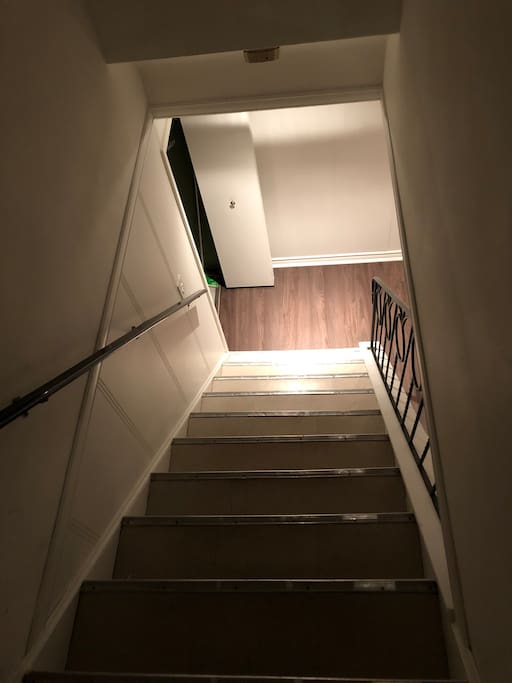 Staircase leading to your private, large room.