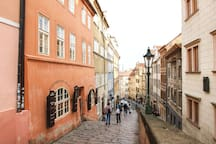 """Name of the street """"Zámecké schody"""" literally means royal stairs, it used to be the direct way to the castle"""