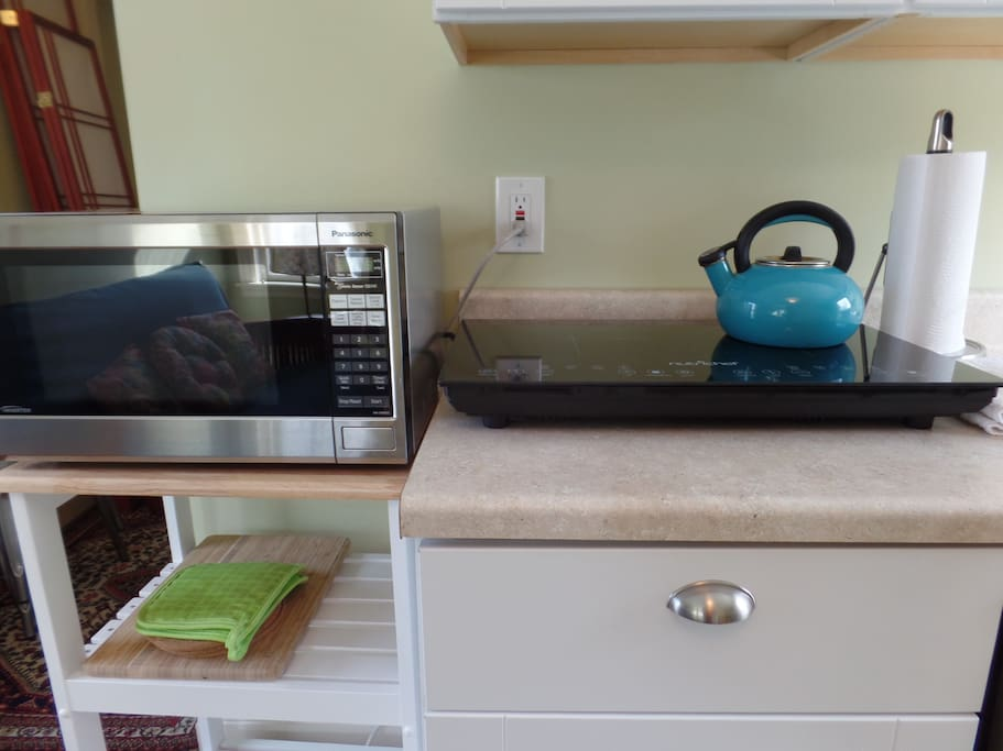 Microwave and 2 burner induction cooktop