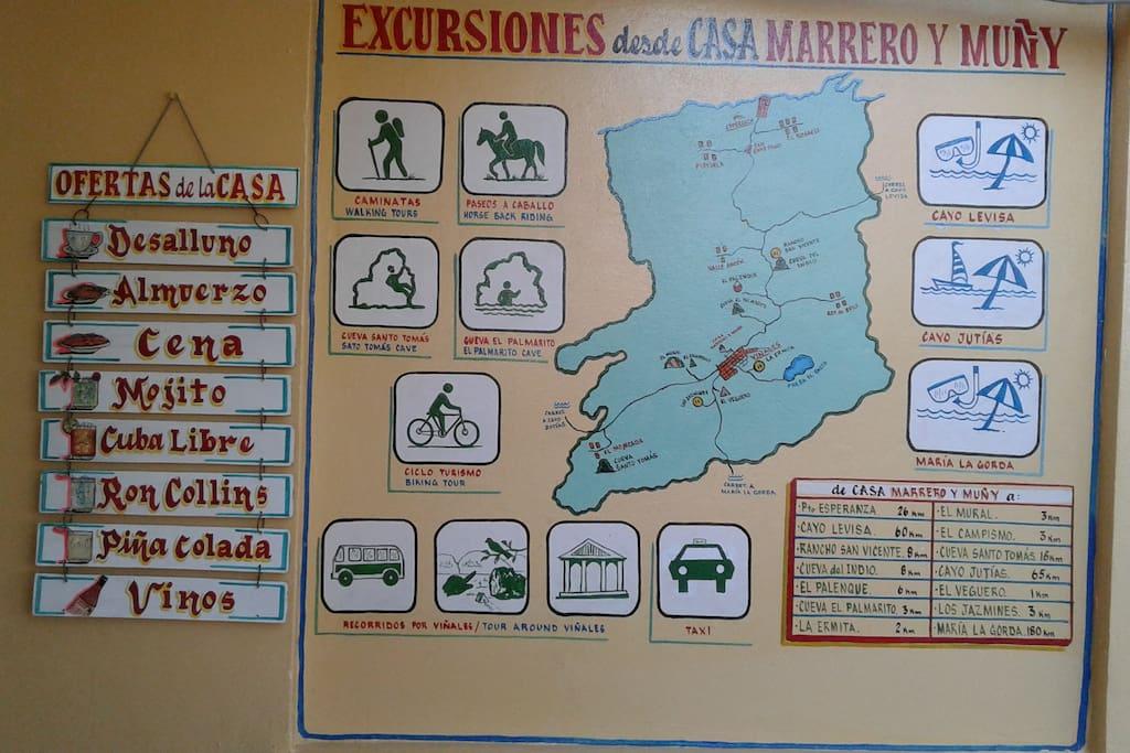 Mapa de las excursiones de la casa.