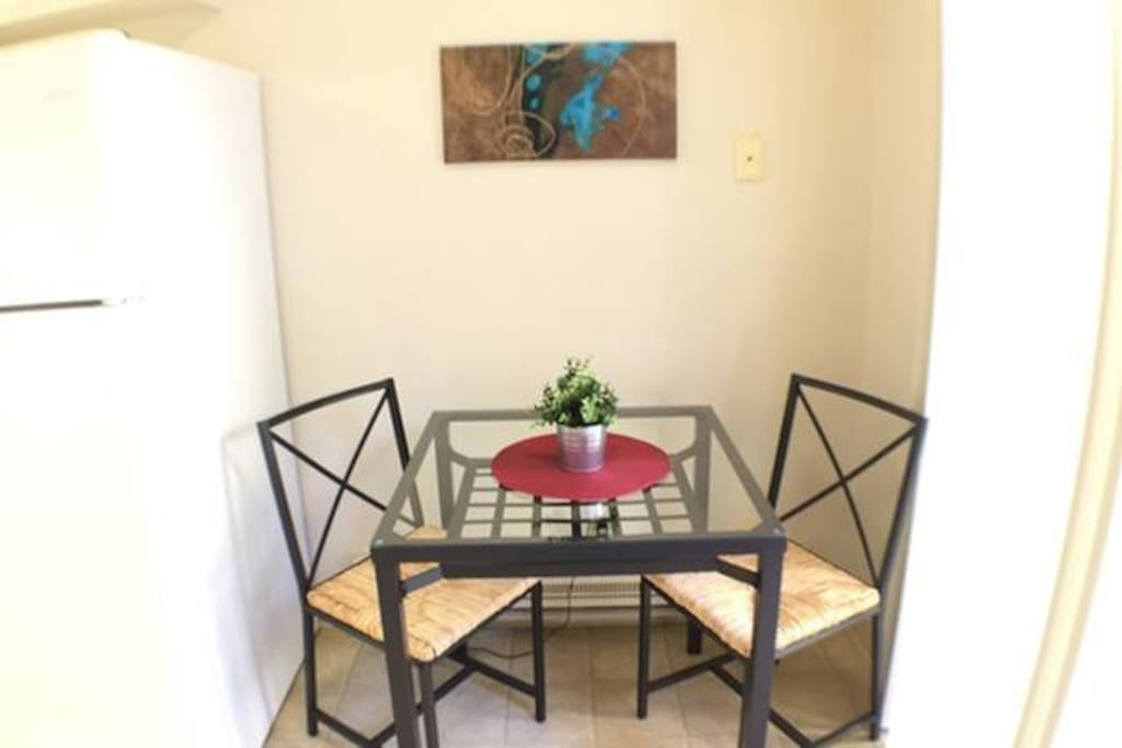 little bistro table in the kitchen area