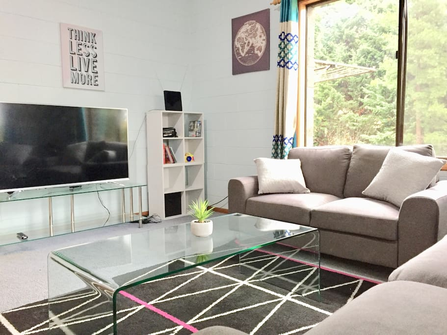 Living room with big screen smart TV and Netflix
