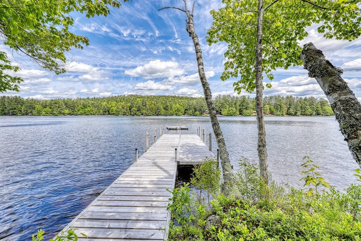 Unique lakefront house with sandy beach & dock, sweeping views
