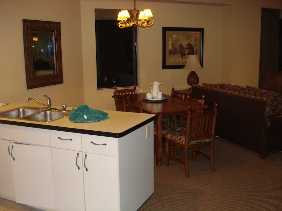 Full kitchen and large dining area