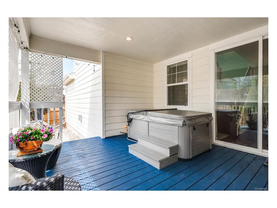 Two person Hot Tub on semi-private covered deck