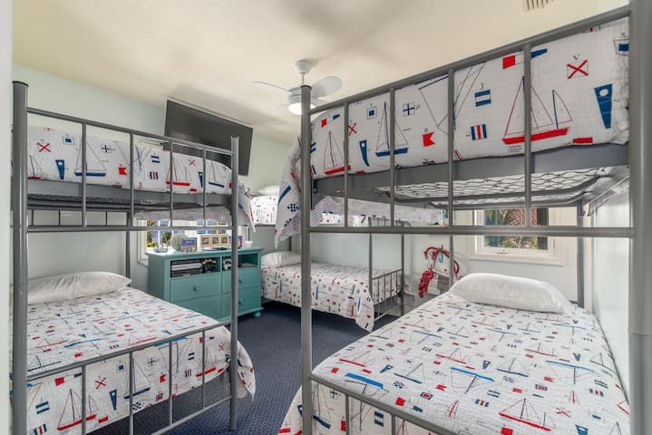 Bunk-Beds bedroom, with private bathroom.  (6 full-size luxury bunks that can sleep kids/teens and smaller adults).
