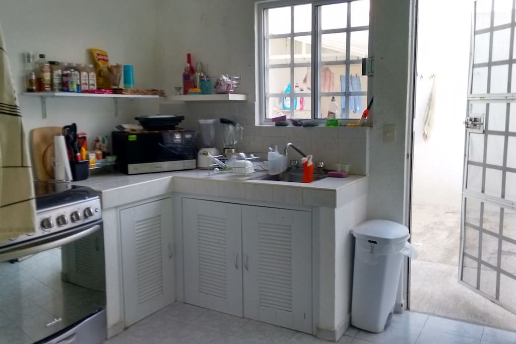 Nice fully equipped kitchen. Food not included.