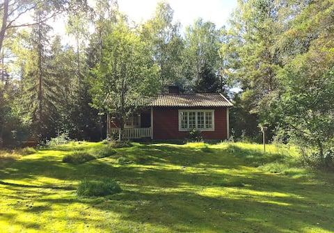 Yksinäinen metsätalo, lähellä Mien-järveä.