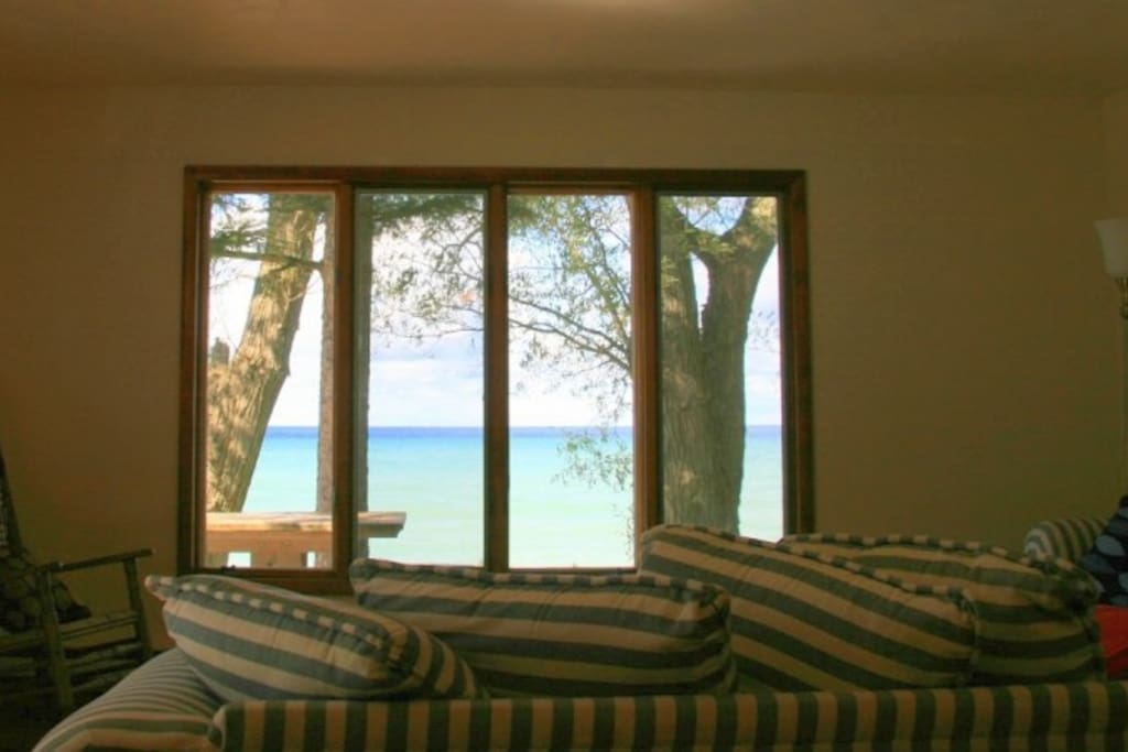 Large lake view through living room windows