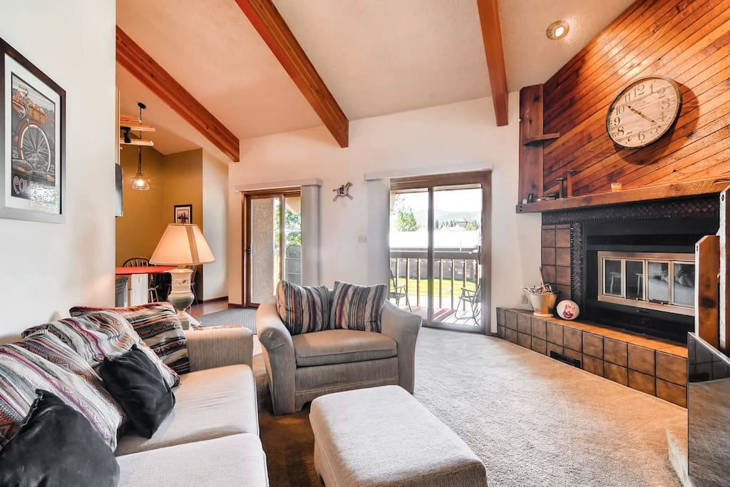 Step outside from sliding glass doors in the living room