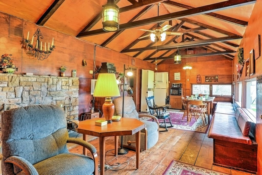 This cottage features vaulted ceilings and beautiful wood beams.