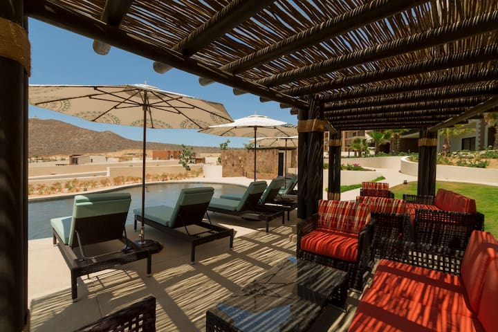 The Copala clubhouse pool has plenty of lounge chairs & umbrellas.  No more fighting over seats!