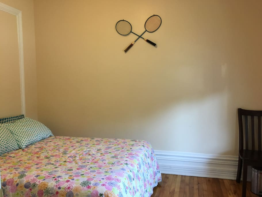 Bedroom decorated retro with rackets!