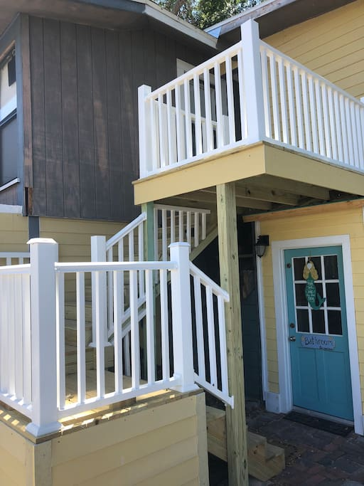 Stairway to your house with private patio at top for enjoying a cup of coffee or tea