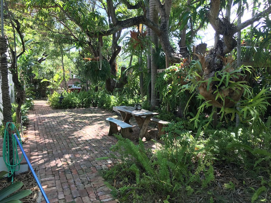 lushly landscaped yard w/ tropical plants & trees surrounding you w/ privacy