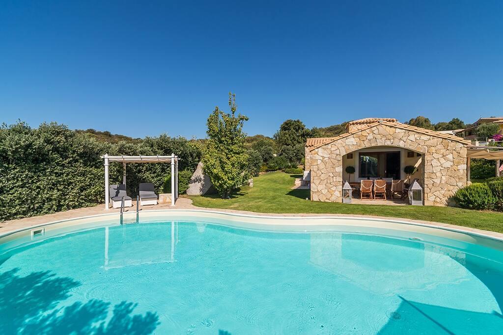 panoramica piscina e giardino