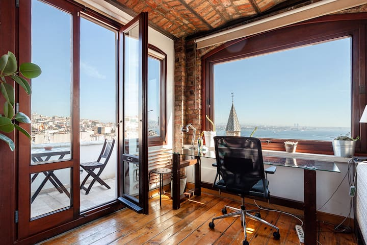 Living room balcony and dedicated  workspace with views