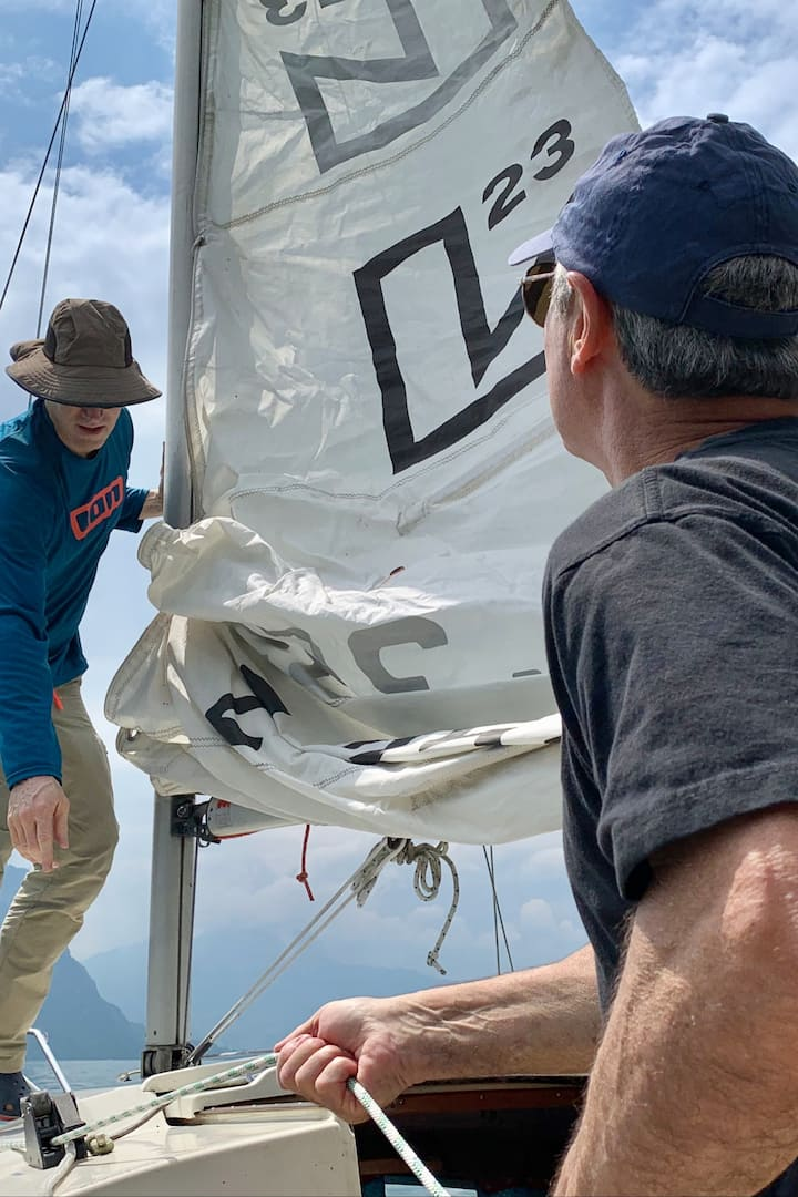 Hoisting the main sail