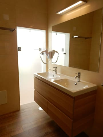 Double washbasins & hairdryer in bathroom I