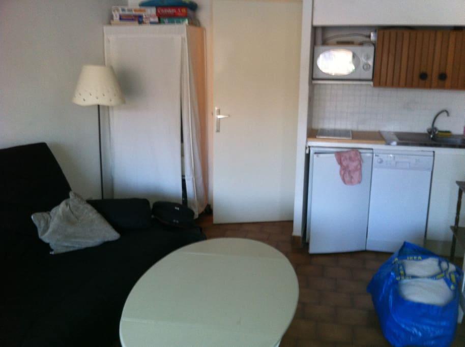 Pièce principale avec canapé lit et coin cuisine