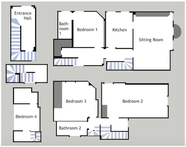This floor plan, which is to-scale, indicates how the rooms connect. Clockwise from top-left, it shows the entrance and floors 2, 3 and 4.