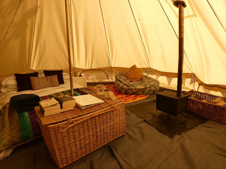Luxury Bell Tent in woodland near Alton Towers.