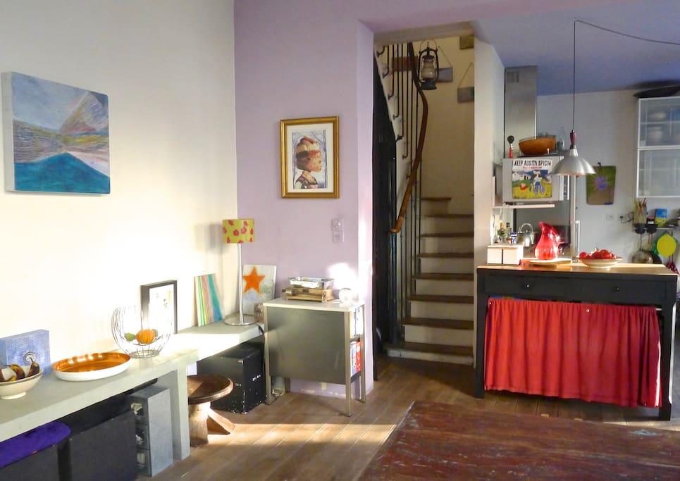 GROUND FLOOR : Open Dining Kitchen Stairs