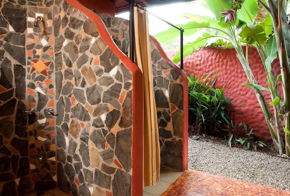 Semi-outdoor bathroom