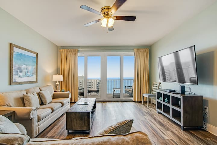 Gulf view condo with balcony, five resort pools/hot tub & beach access!
