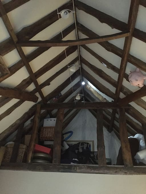 Interesting vaulted ceiling with original oak beams to storage area