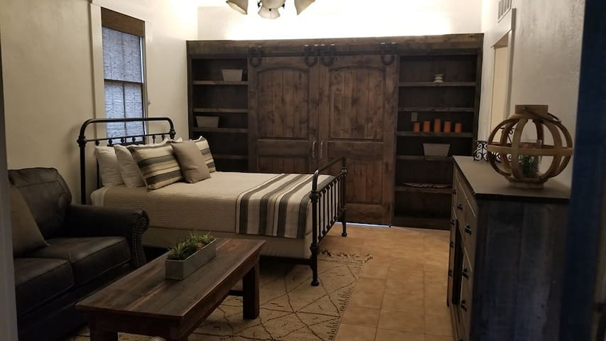 Carriage House Bedroom with closed doors