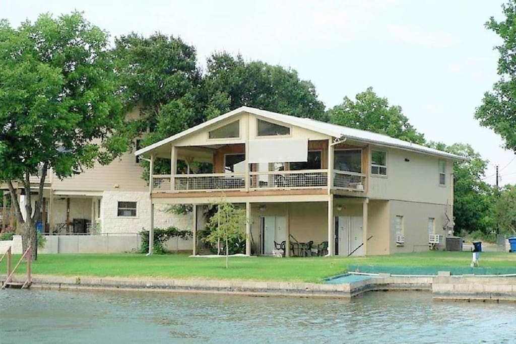 Just STEPS from Lake LBJ, you'll have your own stairs that cascade into the water!