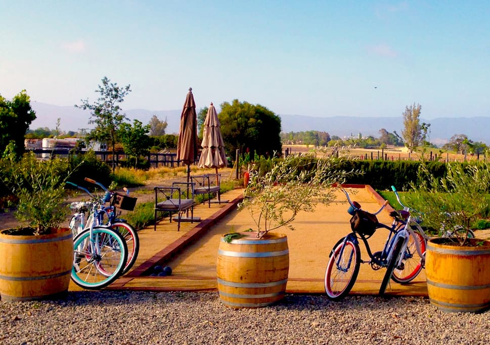 Your own private bocce ball court and four cruiser bikes for meandering into town, make staying in Los Olivos a blast!