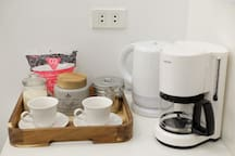 tea and coffee corner, water kettle and coffee maker