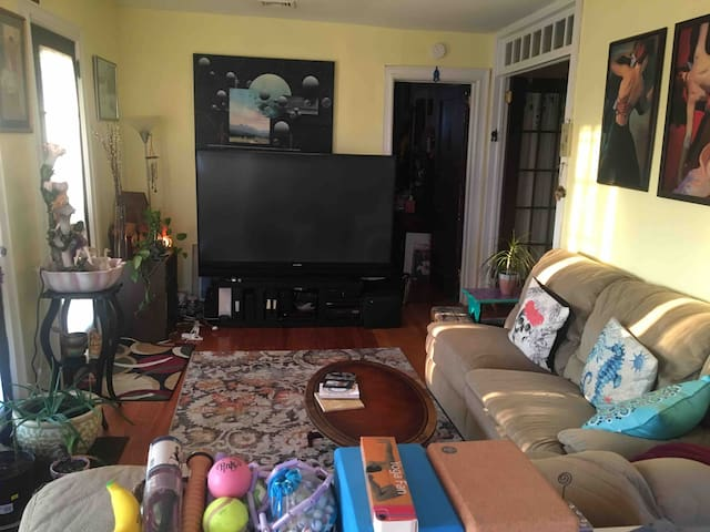 View of tv and half the 1st living room