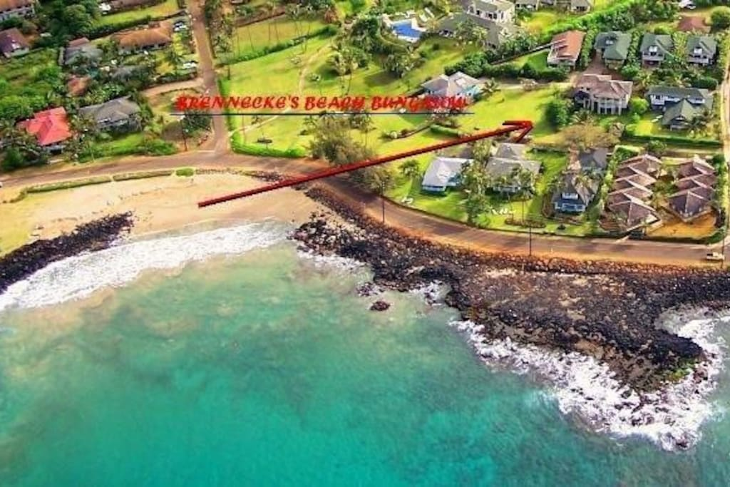 shows proximity of house to Brennecke's Beach